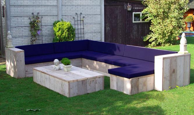 Steigerhouten loungebank l vorm op maat gemaakt for Loungebank steigerhout