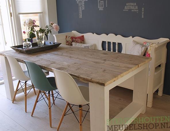 Keukentafel Met Stoelen : Steigerhouten tafel met dikke planken Millau