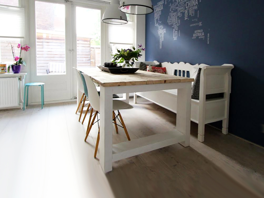 steigerhouten tafel Millau met dikke planken