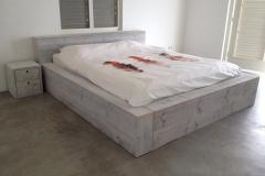 steigerhouten bed white wash klant Curacao