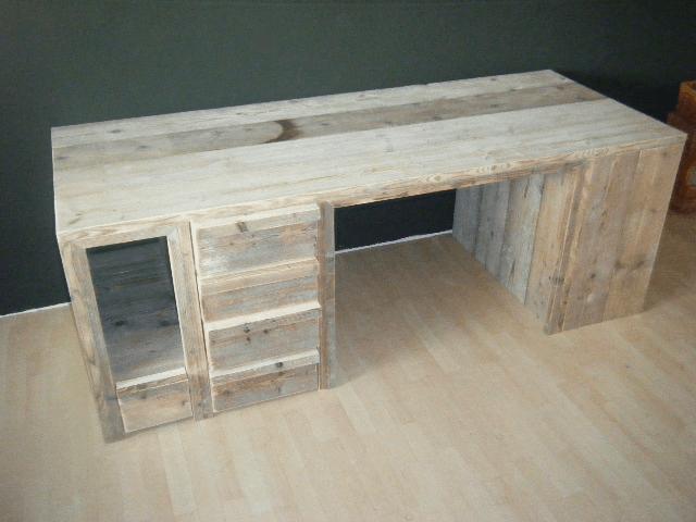 Steigerhouten bureau met laden www for Bureau van steigerhout maken