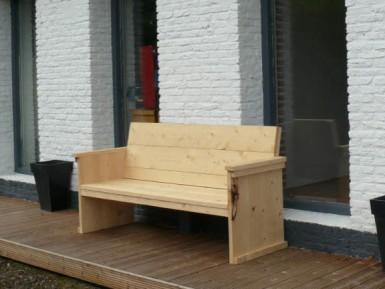 Steigerhouten tuinbank Luik (foto: nieuw hout)