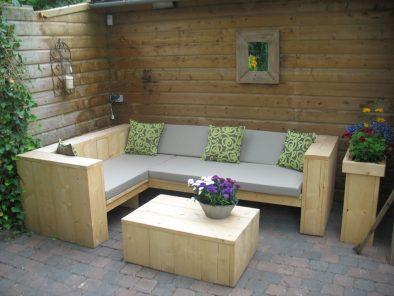 Steigerhouten loungeset Odense hier uitgevoerd in nieuw steigerhout.