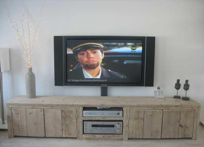 Steigerhouten tv meubel sutri tv kasten van steigerhout for Steigerhout tv meubel maken