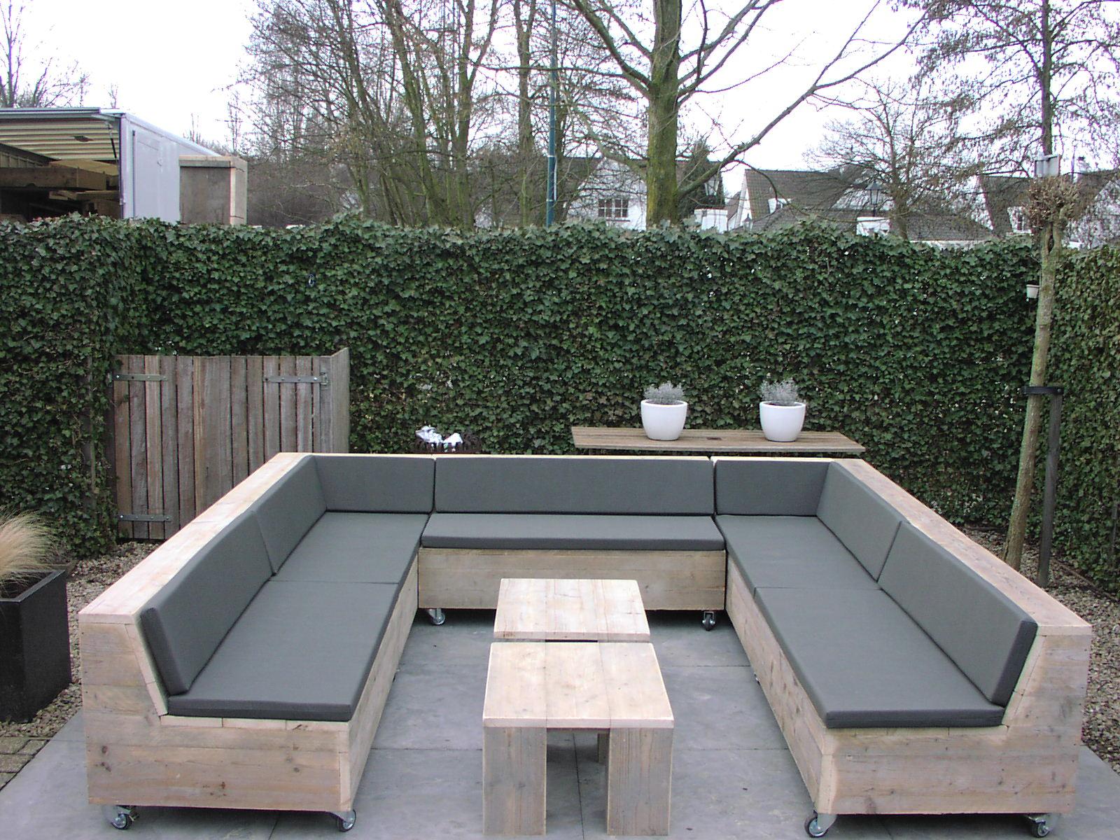 Steigerhouten loungeset newport tafeltje kussens en for Loungeset steigerhout zelf maken