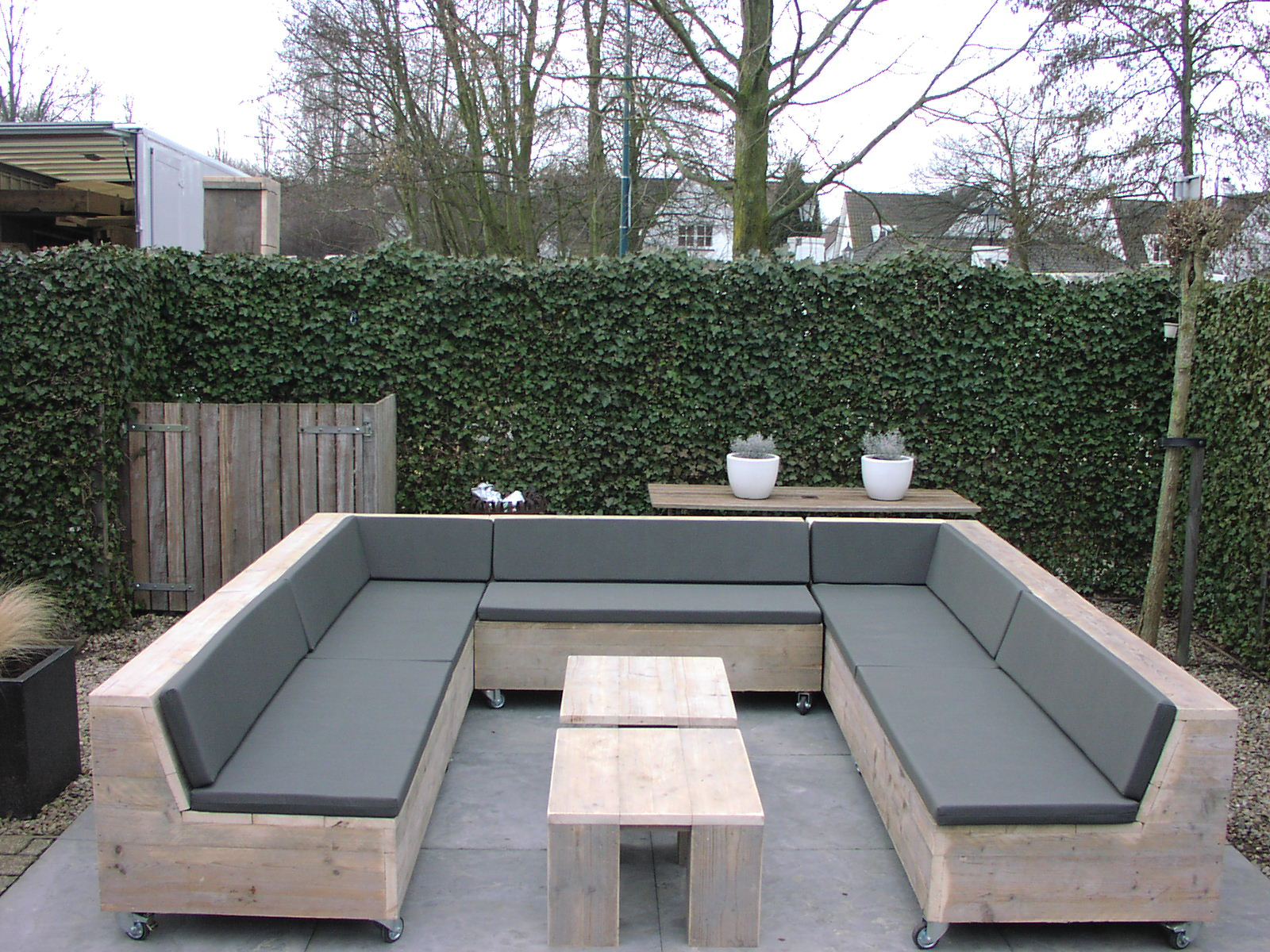 Gave steigerhouten loungebank en loungeset - Bank terras hout ...
