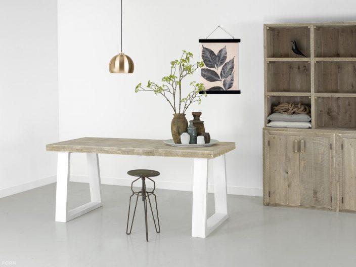 Ravine steigerhouten tafel wit onderstel