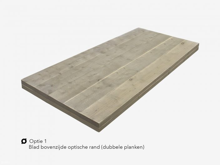 Steigerhouten tafelblad optie 1 optisch dik