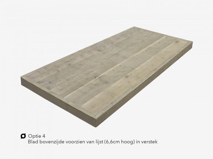 Steigerhouten tafelblad optie 4 versteklijst