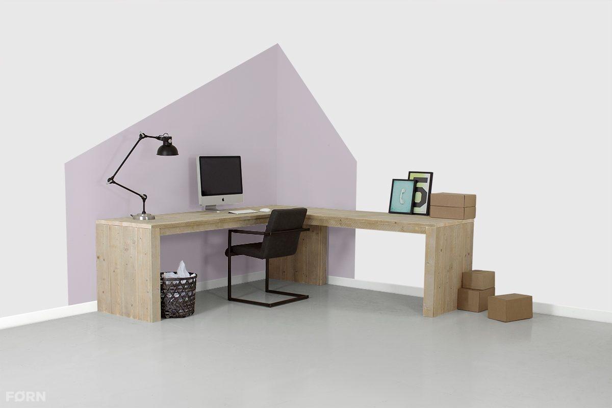 Bureau Hoek Wit.Steigerhouten Hoekbureau Valencia