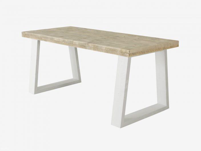 Steigerhouten tafel Ravine wit onderstel