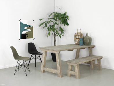 Steigerhouten tafel Ystad