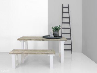 steigerhouten tafel anna met wit onderstel