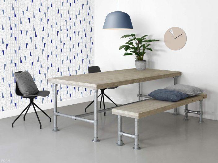 Stegerhouten tafel Morris met steigerbuis onderstel