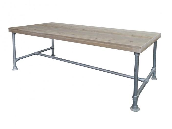 Steigerhouten tafel met steigerbuis onderstel