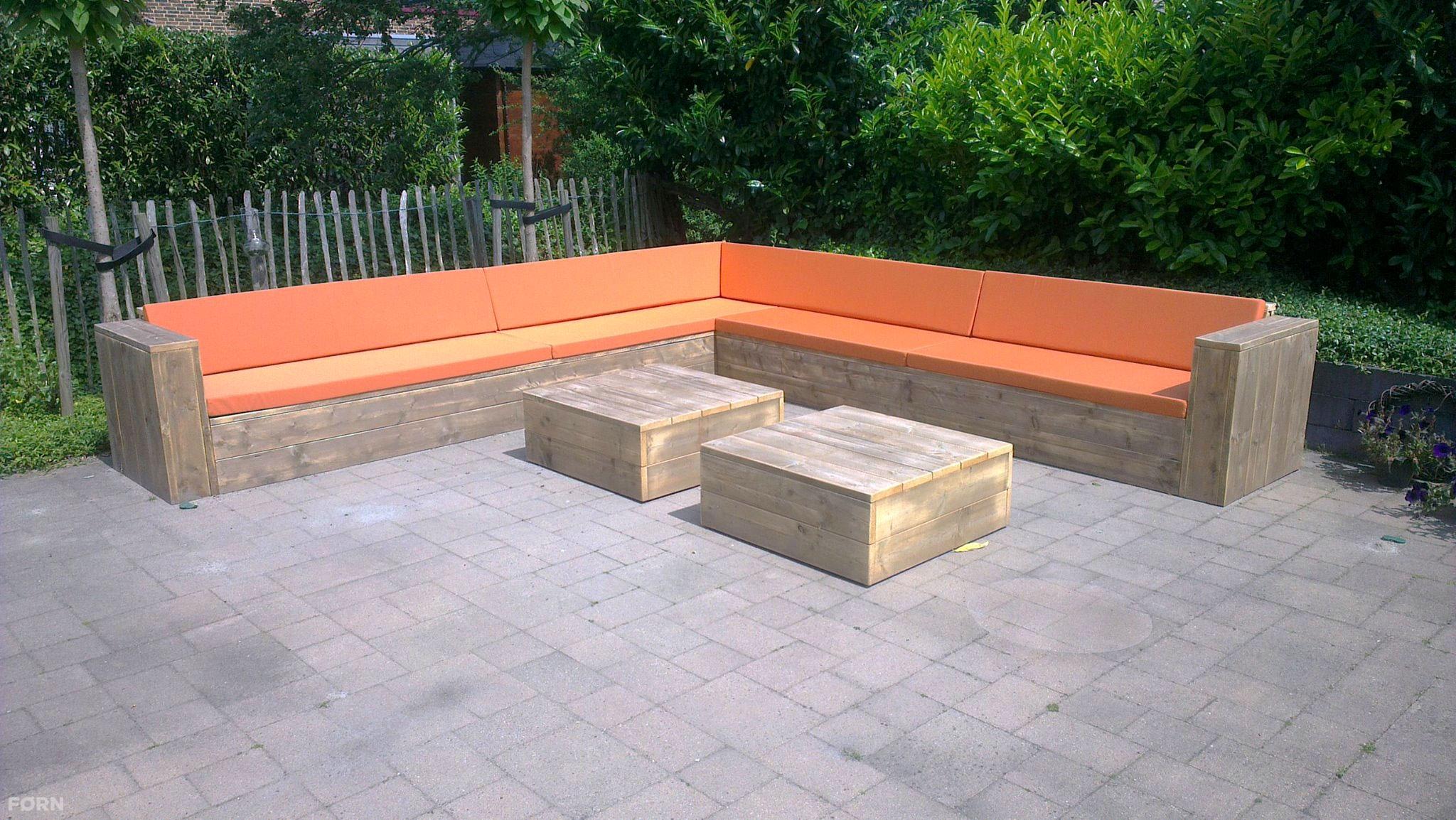 Steigerhouten loungebank l vorm op maat gemaakt - Bank terras hout ...