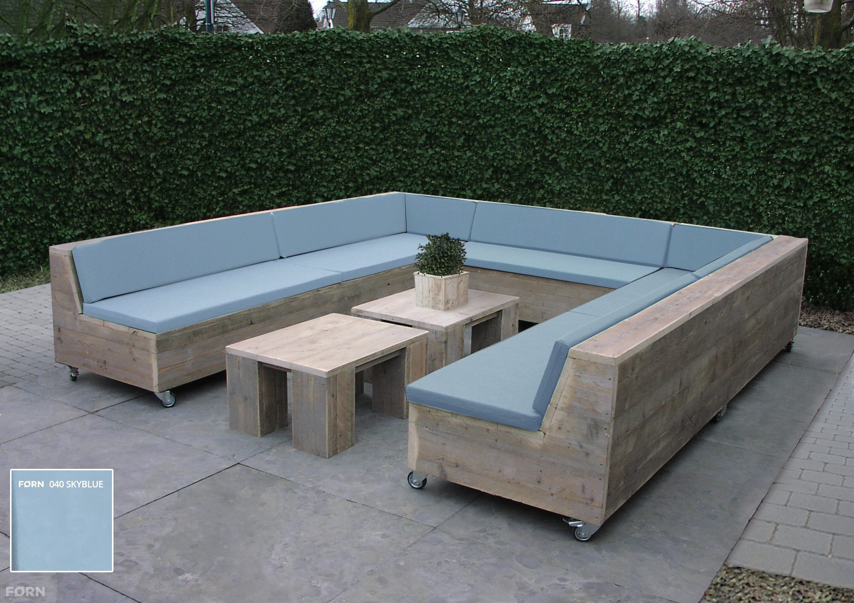 Steigerhouten loungeset newport tafeltje kussens en for Steigerhout loungeset zelf maken