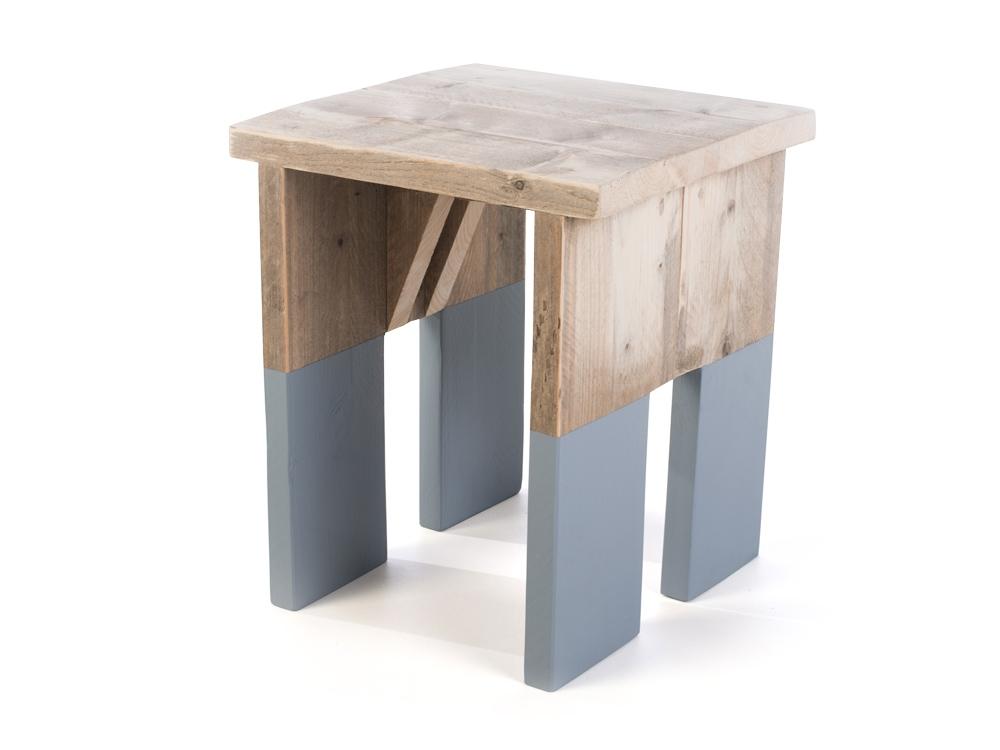 Lichtgrijs Eiken Meubels : Steigerhout krukje muis dip lichtgrijs fØrn meubelen