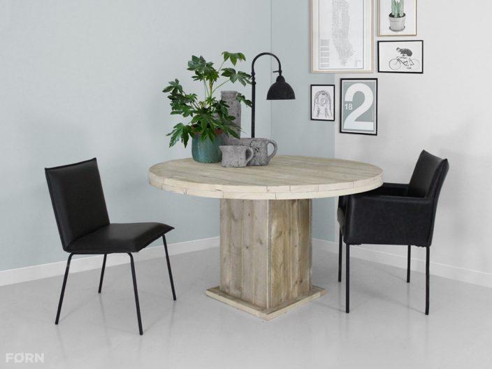 steigerhouten tafel emma rond met kolompoot
