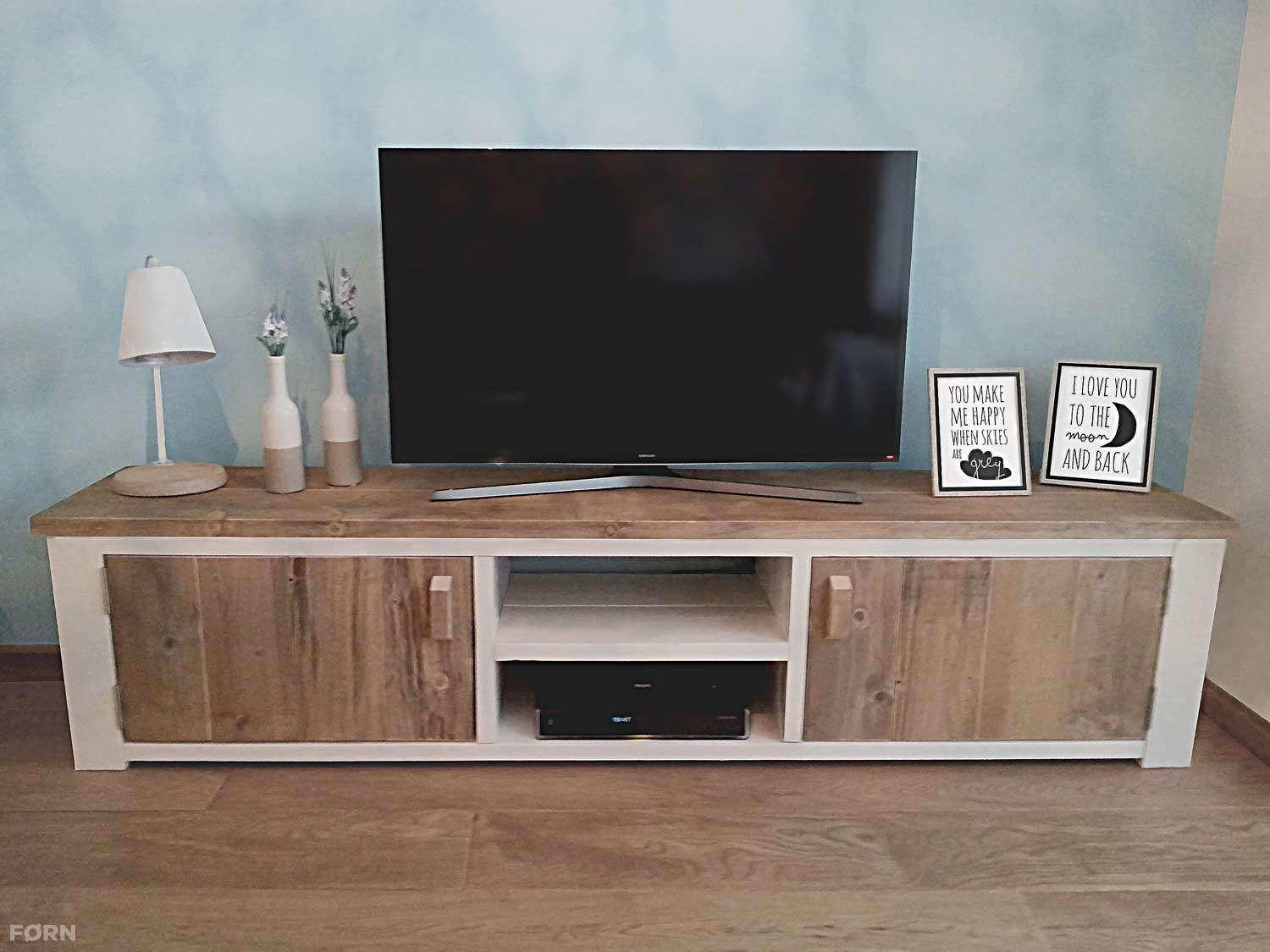 Steigerhouten Tv Meubel Roma Wit