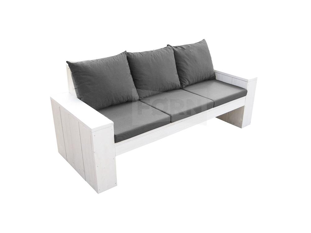 Witte steigerhouten loungebank piana tuinmeubelen for Goedkope lounge kussens