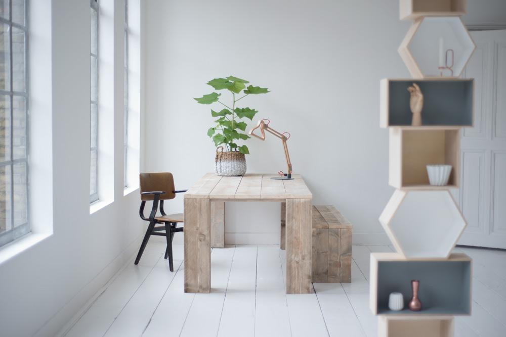Steigerhout tafel dikke poten