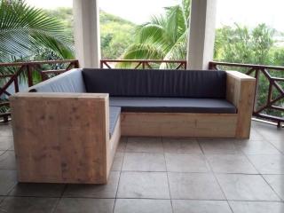 Steigerhouten loungebank met hoek