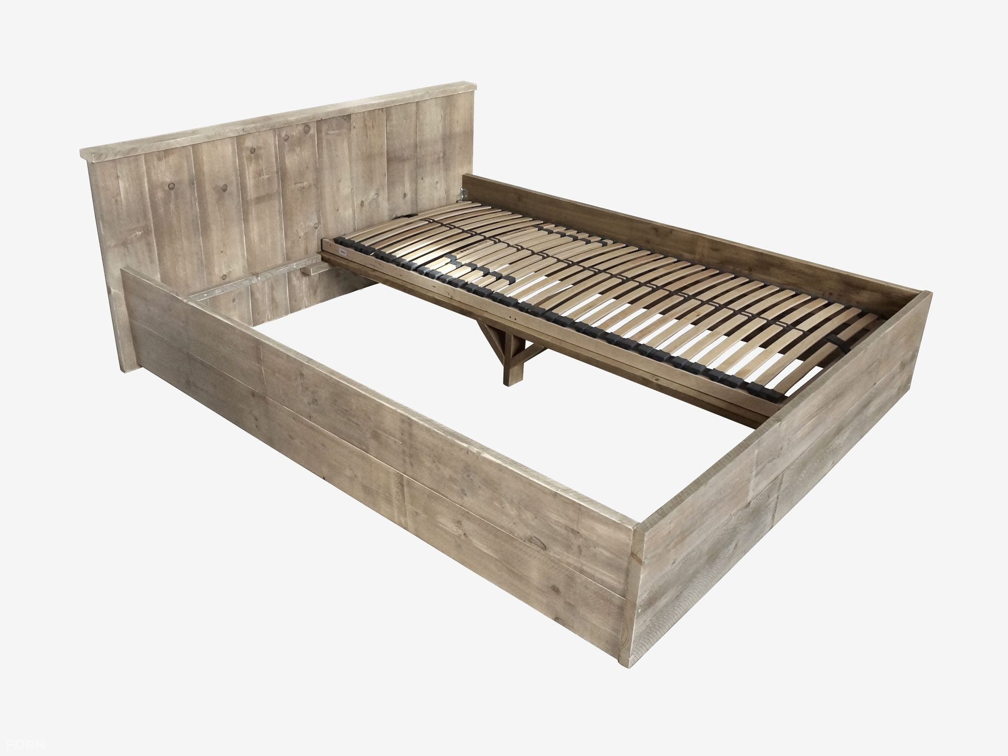 New Steigerhouten bed Anemone - lattenbodem en matras optioneel - op @IX23