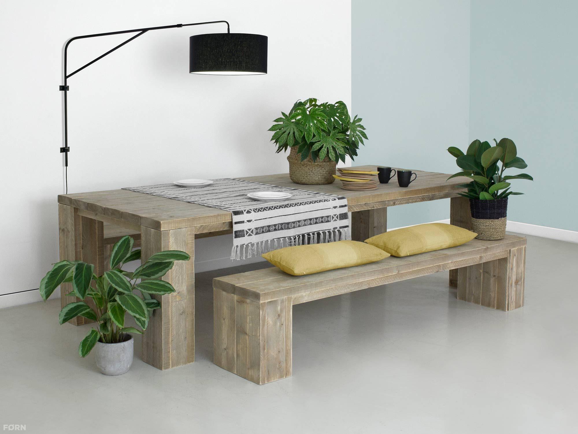 Dikke Planken Boekenkast.Steigerhouten Tafel Kollmar Met Dikke Planken Forn