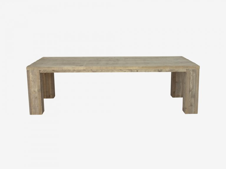 Steigerhouten tafel kollmar met witte achtergrond