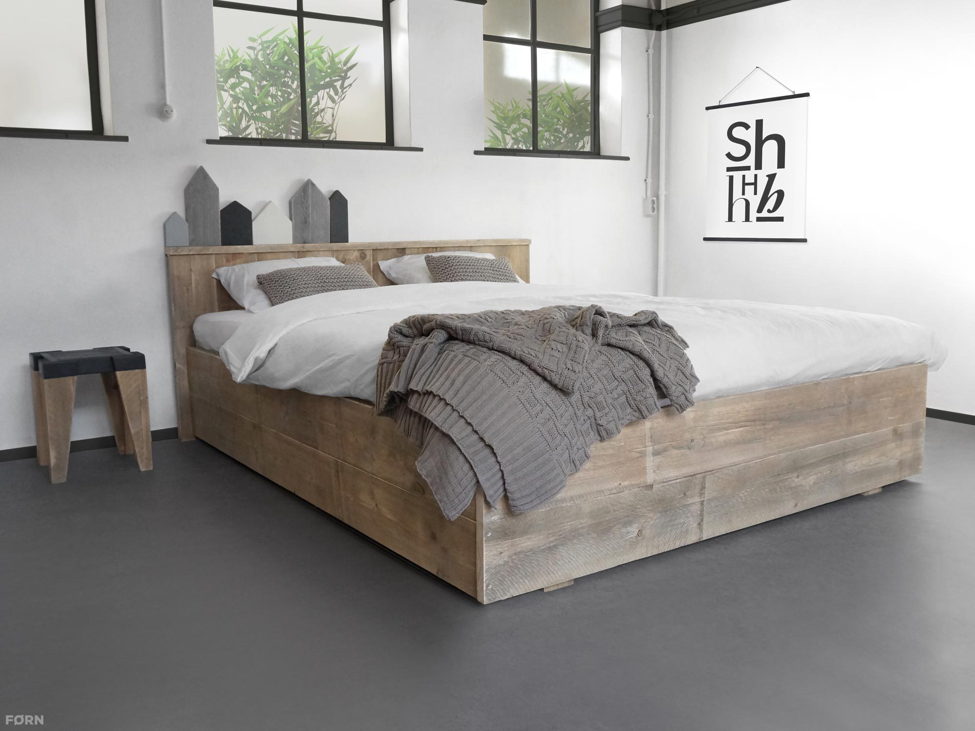 Steigerhouten bed anemone lattenbodem en matras for Steigerhout bed