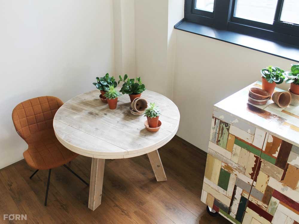 Ronde Tafel Steigerhout : Ronde steigerhouten tafel tripod fØrn
