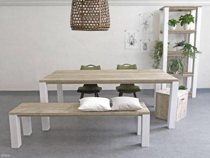 steigerhouten tafel Malene wit onderstel
