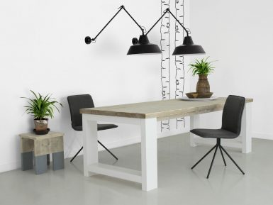 steigerhouten tafel Millau wit onderstel sfeerfoto