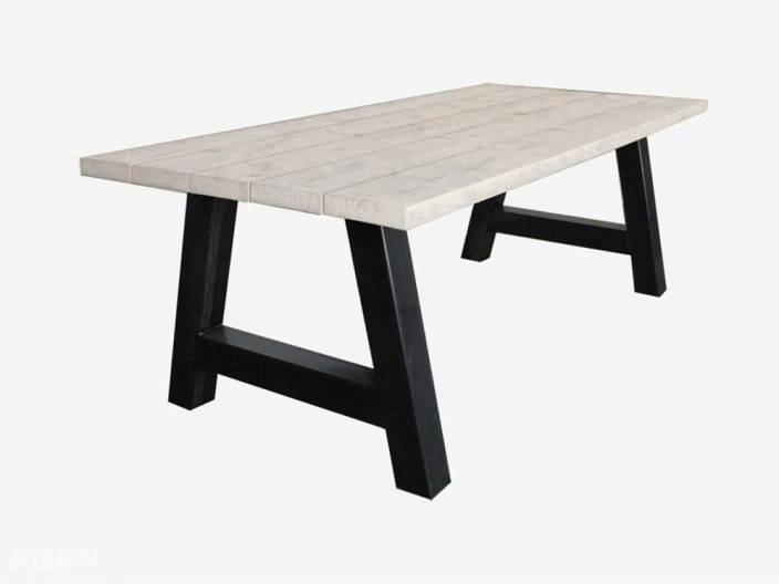 Industriele tafel A-poot white wash