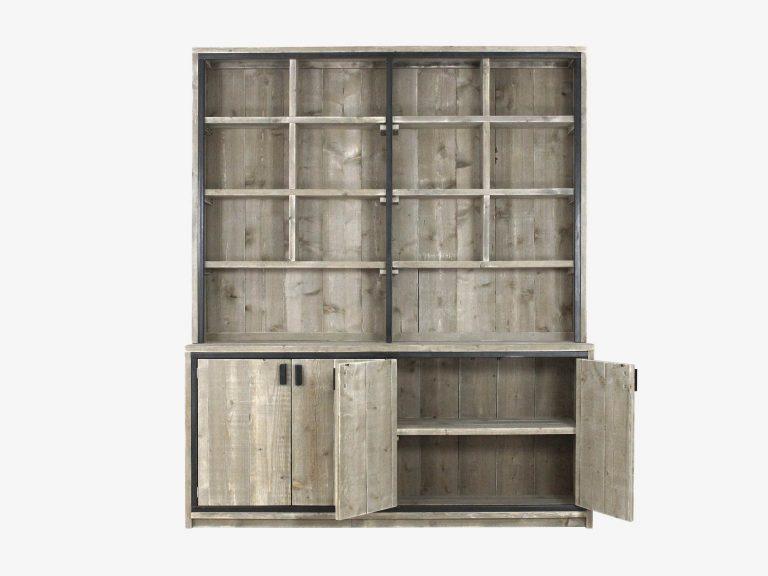 industriele buffetkast steigerhout Ben staal witte achtergrond