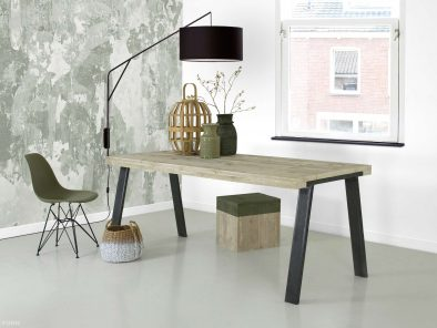 Steigerhouten tafel Muk met stalen onderstel