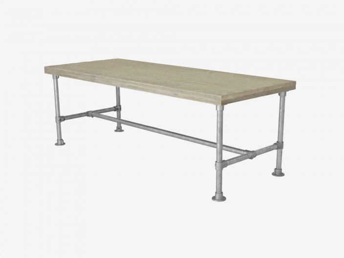 Stegerhouten tafel Morris met steigerbuis onderstel witte achtergrond