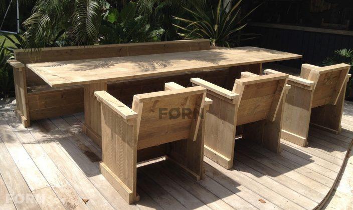 Steigerhouten tuinset tafel bankje en stoelen