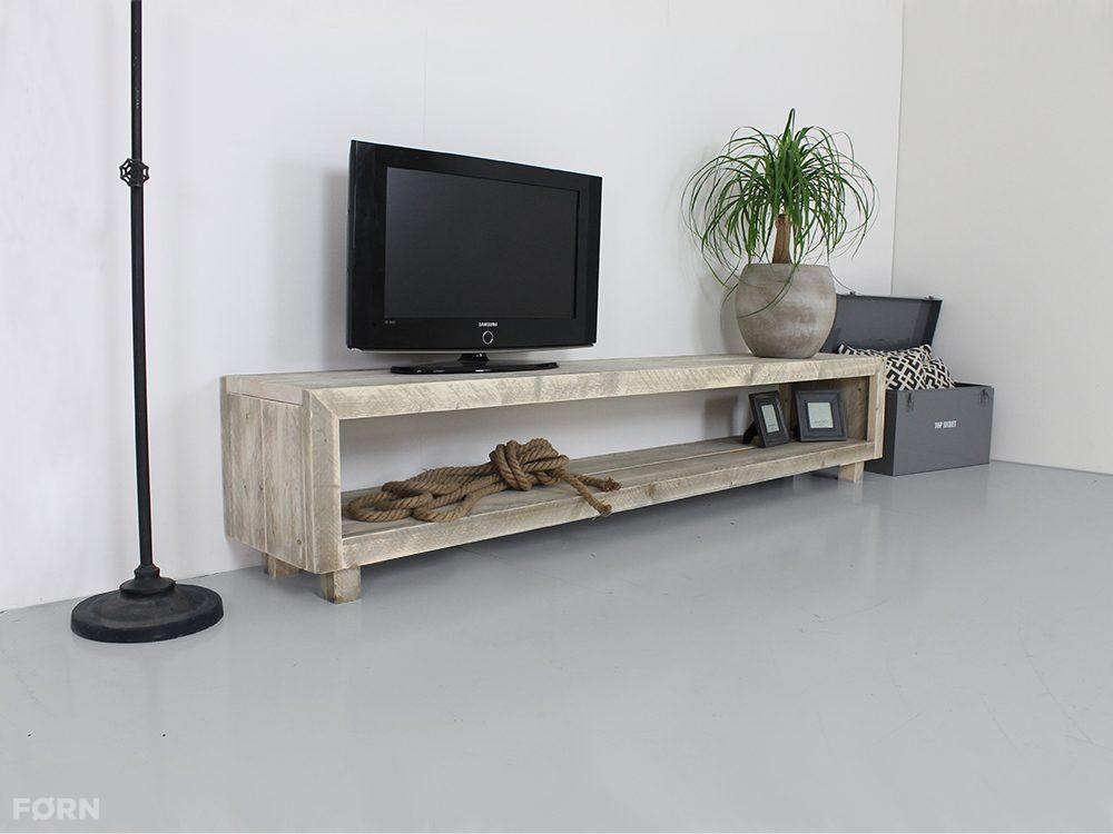 Steigerhout Tv Meubel White Wash.Steigerhouten Tv Meubel Laghetto Met Vakken En Zonder Deuren Tv