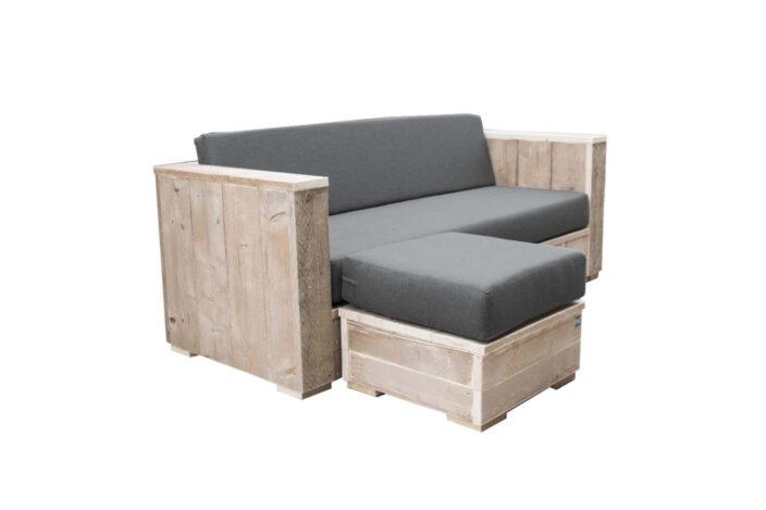 Steigerhouten Loungebank met Hocker Siena