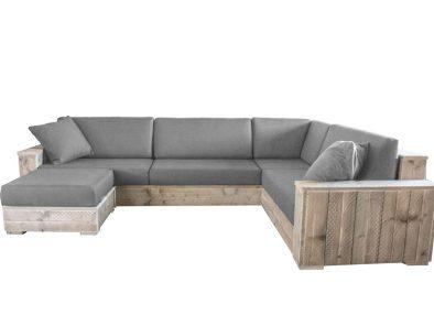 Luxe steigerhouten loungebank Florence met 16 dikke kussens